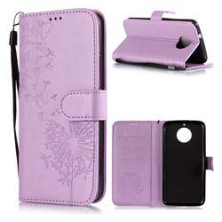 Intricate Embossing Dandelion Butterfly Leather Wallet Case for Motorola Moto G5S - Purple