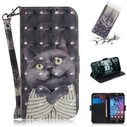 Cat Embrace 3D Painted Leather Wallet Phone Case for Motorola Moto G5S