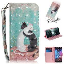 Black and White Cat 3D Painted Leather Wallet Phone Case for Motorola Moto G5S