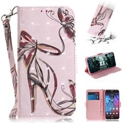 Butterfly High Heels 3D Painted Leather Wallet Phone Case for Motorola Moto G5S