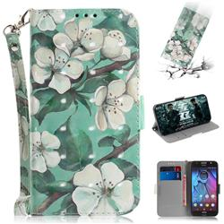 Watercolor Flower 3D Painted Leather Wallet Phone Case for Motorola Moto G5S