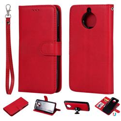 Retro Greek Detachable Magnetic PU Leather Wallet Phone Case for Motorola Moto G5S - Red