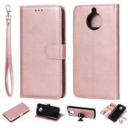 Retro Greek Detachable Magnetic PU Leather Wallet Phone Case for Motorola Moto G5S - Rose Gold