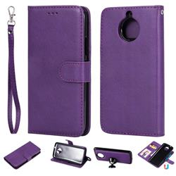 Retro Greek Detachable Magnetic PU Leather Wallet Phone Case for Motorola Moto G5S - Purple