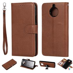 Retro Greek Detachable Magnetic PU Leather Wallet Phone Case for Motorola Moto G5S - Brown