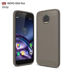 Luxury Carbon Fiber Brushed Wire Drawing Silicone TPU Back Cover for Motorola Moto G5S Plus (Gray)