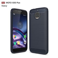 Luxury Carbon Fiber Brushed Wire Drawing Silicone TPU Back Cover for Motorola Moto G5S Plus (Navy)