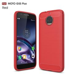 Luxury Carbon Fiber Brushed Wire Drawing Silicone TPU Back Cover for Motorola Moto G5S Plus (Red)