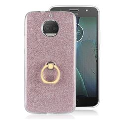 Luxury Soft TPU Glitter Back Ring Cover with 360 Rotate Finger Holder Buckle for Motorola Moto G5S Plus - Pink