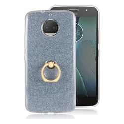 Luxury Soft TPU Glitter Back Ring Cover with 360 Rotate Finger Holder Buckle for Motorola Moto G5S Plus - Blue