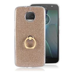 Luxury Soft TPU Glitter Back Ring Cover with 360 Rotate Finger Holder Buckle for Motorola Moto G5S Plus - Golden