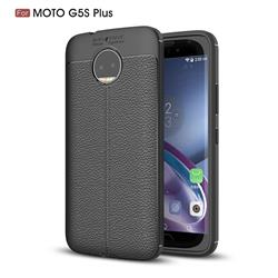 Luxury Auto Focus Litchi Texture Silicone TPU Back Cover for Motorola Moto G5S Plus - Black