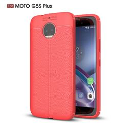 Luxury Auto Focus Litchi Texture Silicone TPU Back Cover for Motorola Moto G5S Plus - Red