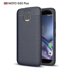 Luxury Auto Focus Litchi Texture Silicone TPU Back Cover for Motorola Moto G5S Plus - Dark Blue