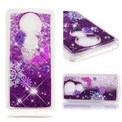 Purple Flower Butterfly Dynamic Liquid Glitter Quicksand Soft TPU Case for Motorola Moto G5S Plus