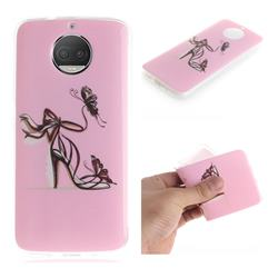 Butterfly High Heels IMD Soft TPU Cell Phone Back Cover for Motorola Moto G5S Plus