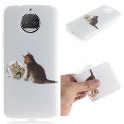 Cat and Tiger IMD Soft TPU Cell Phone Back Cover for Motorola Moto G5S Plus