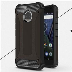 King Kong Armor Premium Shockproof Dual Layer Rugged Hard Cover for Motorola Moto G5S Plus - Black Gold