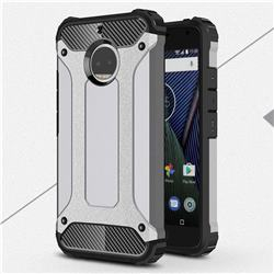 King Kong Armor Premium Shockproof Dual Layer Rugged Hard Cover for Motorola Moto G5S Plus - Silver Grey