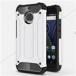 King Kong Armor Premium Shockproof Dual Layer Rugged Hard Cover for Motorola Moto G5S Plus - White
