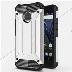 King Kong Armor Premium Shockproof Dual Layer Rugged Hard Cover for Motorola Moto G5S Plus - Technology Silver