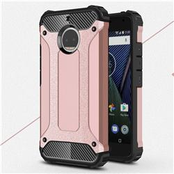 King Kong Armor Premium Shockproof Dual Layer Rugged Hard Cover for Motorola Moto G5S Plus - Rose Gold