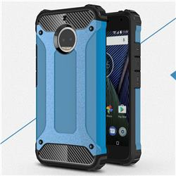 King Kong Armor Premium Shockproof Dual Layer Rugged Hard Cover for Motorola Moto G5S Plus - Sky Blue