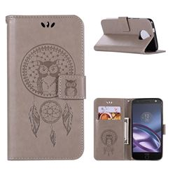 Intricate Embossing Owl Campanula Leather Wallet Case for Motorola Moto G5S Plus - Grey