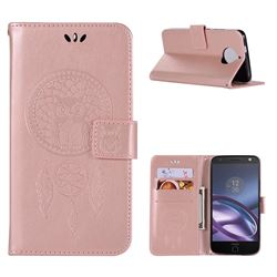 Intricate Embossing Owl Campanula Leather Wallet Case for Motorola Moto G5S Plus - Rose Gold