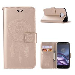 Intricate Embossing Owl Campanula Leather Wallet Case for Motorola Moto G5S Plus - Champagne