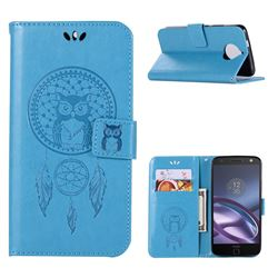 Intricate Embossing Owl Campanula Leather Wallet Case for Motorola Moto G5S Plus - Blue