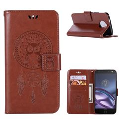 Intricate Embossing Owl Campanula Leather Wallet Case for Motorola Moto G5S Plus - Brown