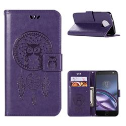 Intricate Embossing Owl Campanula Leather Wallet Case for Motorola Moto G5S Plus - Purple