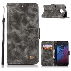 Luxury Retro Leather Wallet Case for Motorola Moto G5S Plus - Gray