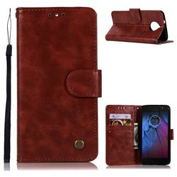 Luxury Retro Leather Wallet Case for Motorola Moto G5S Plus - Wine Red