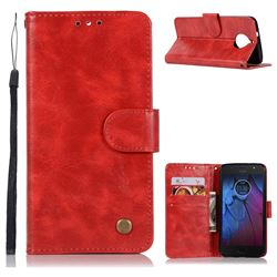Luxury Retro Leather Wallet Case for Motorola Moto G5S Plus - Red