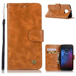 Luxury Retro Leather Wallet Case for Motorola Moto G5S Plus - Golden