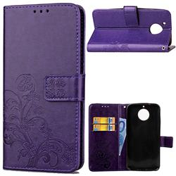 Embossing Imprint Four-Leaf Clover Leather Wallet Case for Motorola Moto G5S Plus - Purple