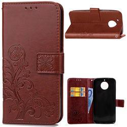 Embossing Imprint Four-Leaf Clover Leather Wallet Case for Motorola Moto G5S Plus - Brown