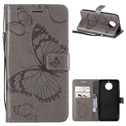 Embossing 3D Butterfly Leather Wallet Case for Motorola Moto G5S Plus - Gray