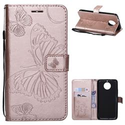 Embossing 3D Butterfly Leather Wallet Case for Motorola Moto G5S Plus - Rose Gold