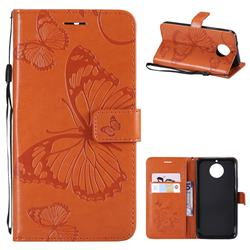 Embossing 3D Butterfly Leather Wallet Case for Motorola Moto G5S Plus - Orange
