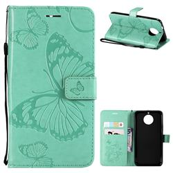 Embossing 3D Butterfly Leather Wallet Case for Motorola Moto G5S Plus - Green