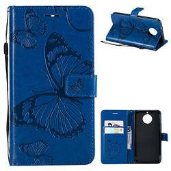 Embossing 3D Butterfly Leather Wallet Case for Motorola Moto G5S Plus - Blue