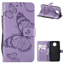 Embossing 3D Butterfly Leather Wallet Case for Motorola Moto G5S Plus - Purple