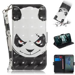 Angry Bear 3D Painted Leather Wallet Phone Case for Motorola Moto G5S Plus