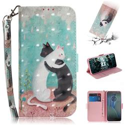 Black and White Cat 3D Painted Leather Wallet Phone Case for Motorola Moto G5S Plus