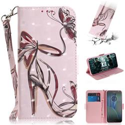 Butterfly High Heels 3D Painted Leather Wallet Phone Case for Motorola Moto G5S Plus