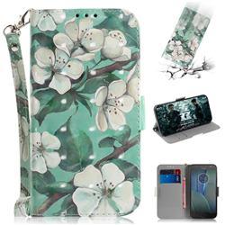 Watercolor Flower 3D Painted Leather Wallet Phone Case for Motorola Moto G5S Plus