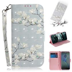 Magnolia Flower 3D Painted Leather Wallet Phone Case for Motorola Moto G5S Plus